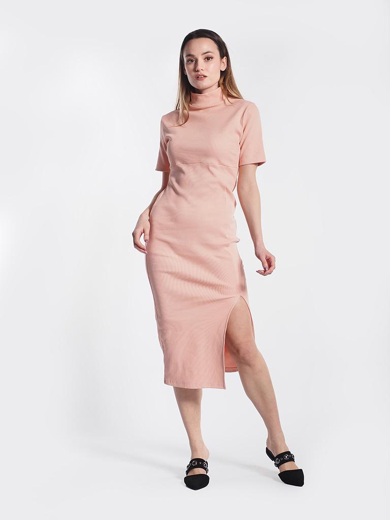 Φόρεμα ροδακινί ζιβάγκο